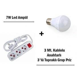 7W Led Ampul + 3 Metre Uzatmalı Anahtarlı 3lü Priz Set