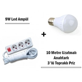 9W Led Ampul + 10 Metre Uzatmalı Anahtarlı 3lü Priz Set