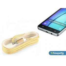 Android Örgü Şeklinde Renkli Çelik Şarj Data Kablosu - Gold
