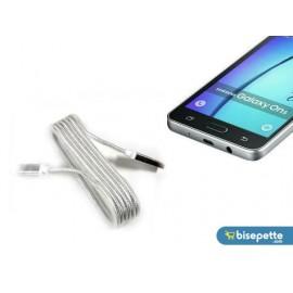 Android Örgü Şeklinde Renkli Çelik Şarj Data Kablosu - Gümüş