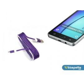 Android Örgü Şeklinde Renkli Çelik Şarj Data Kablosu - Mor