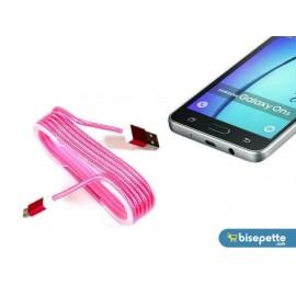 Android Örgü Şeklinde Renkli Çelik Şarj Data Kablosu - Pembe