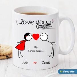 Aşk Seninle Güzel Kişiye Özel Kupa Bardak