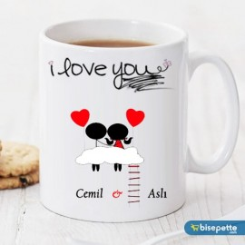I Love You Kişiye Özel Kupa Bardak