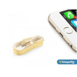 iPhone Örgü Şeklinde Renkli Çelik Şarj Data Kablosu - Gold