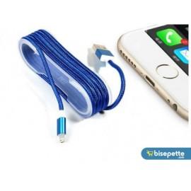 iPhone Örgü Şeklinde Renkli Çelik Şarj Data Kablosu - Mavi