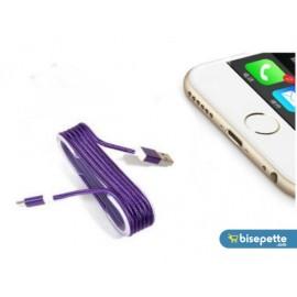 iPhone Örgü Şeklinde Renkli Çelik Şarj Data Kablosu - Mor