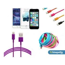 Renkli iPhone 5 5S 6 6S USB Data Kablosu - Mor