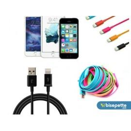 Renkli iPhone 5 5S 6 6S USB Data Kablosu - Siyah