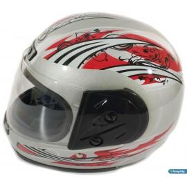 Kask Retro Ful Face Motor Kaskı Ful Kapalı Kask Gri Gümüş