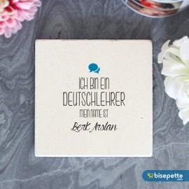Kişiye Özel Almanca Öğretmeni Taş Bardak Altlığı