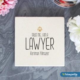 Kişiye Özel Avukat Taş Bardak Altlığı - Model 2