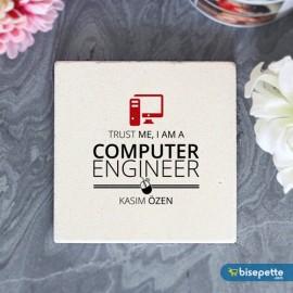 Kişiye Özel Bilgisayar Mühendisi Taş Bardak Altlığı