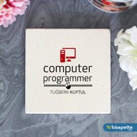 Kişiye Özel Bilgisayar Programcısı Taş Bardak Altlığı
