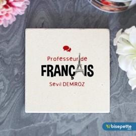 Kişiye Özel Fransızca Öğretmeni Taş Bardak Altlığı