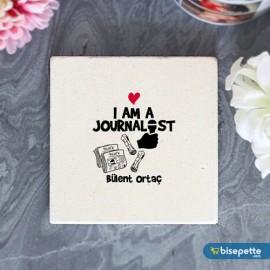 Kişiye Özel Gazeteci Taş Bardak Altlığı