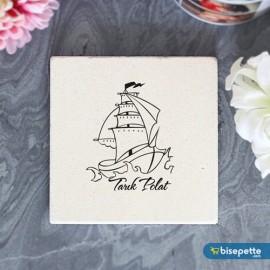 Kişiye Özel Gemi Tasarımlı Taş Bardak Altlığı