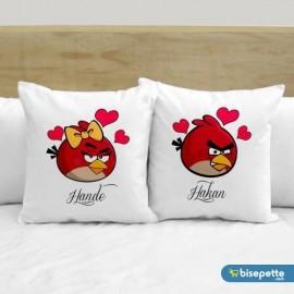 Kişiye Özel İkili İsimli Love Birds 2 li Aşk Yastık Kılıfı