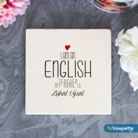 Kişiye Özel İngilizce Öğretmeni Taş Bardak Altlığı