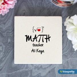 Kişiye Özel Matematik Öğretmeni Taş Bardak Altlığı
