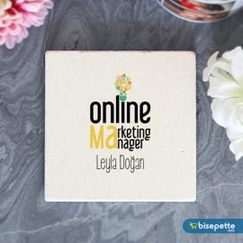 Kişiye Özel Online Marketing Taş Bardak Altlığı