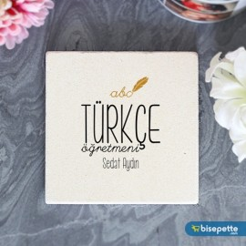 Kişiye Özel Türkçe Öğretmeni Taş Bardak Altlığı